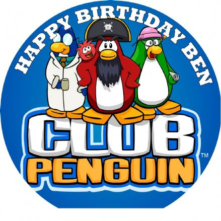 Club Penguin Logo Edible Cake Topper